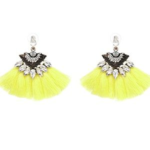 2.25in. Long Tassel fringe earrings Crystals